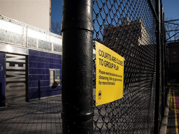Hoops removed to prevent people from spreading coronavirus by gathering in Brooklyn
