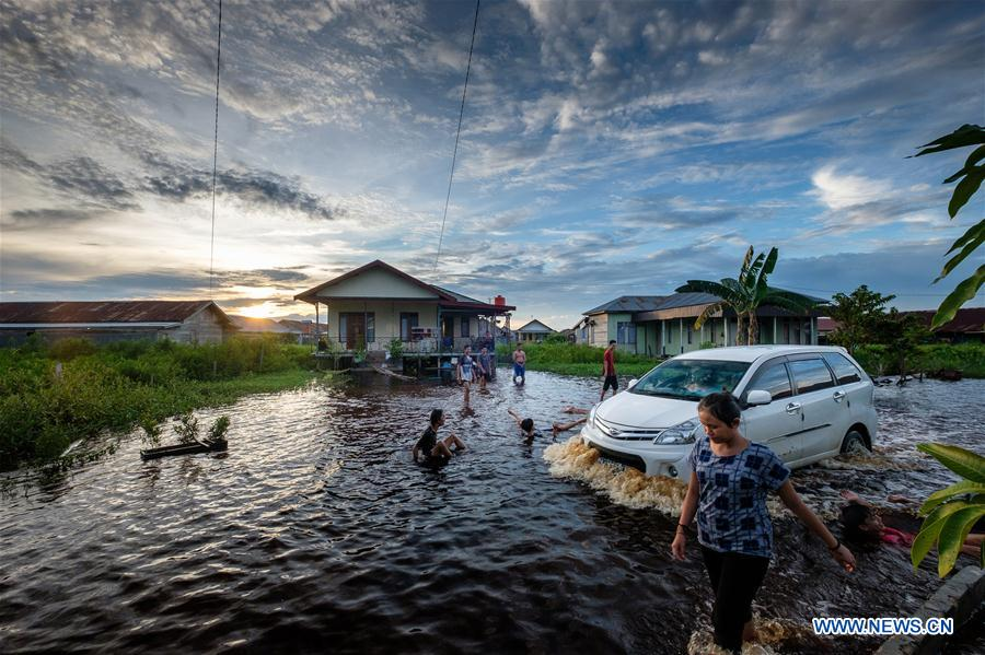 People walk in flood water at Mendawai village in Indonesia