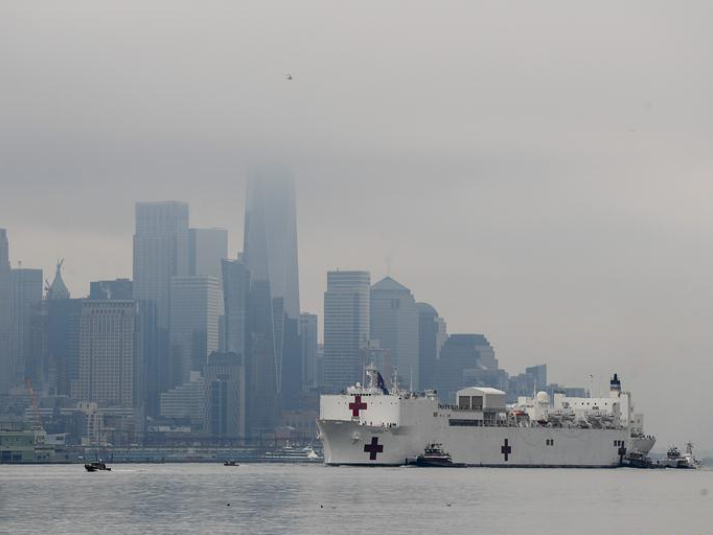 US Navy ship arrives in NYC to ease pressure on city hospitals
