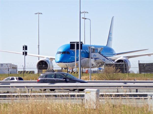 Airplanes of Dutch airline KLM parked at Schiphol airport