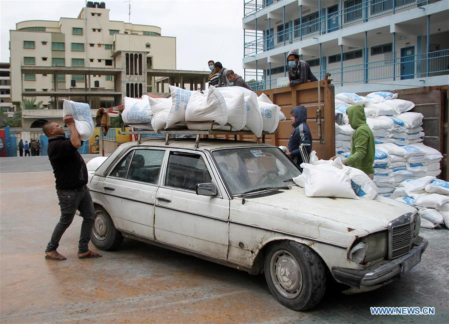 UNRWA provides food aid to refugee camp in Gaza City