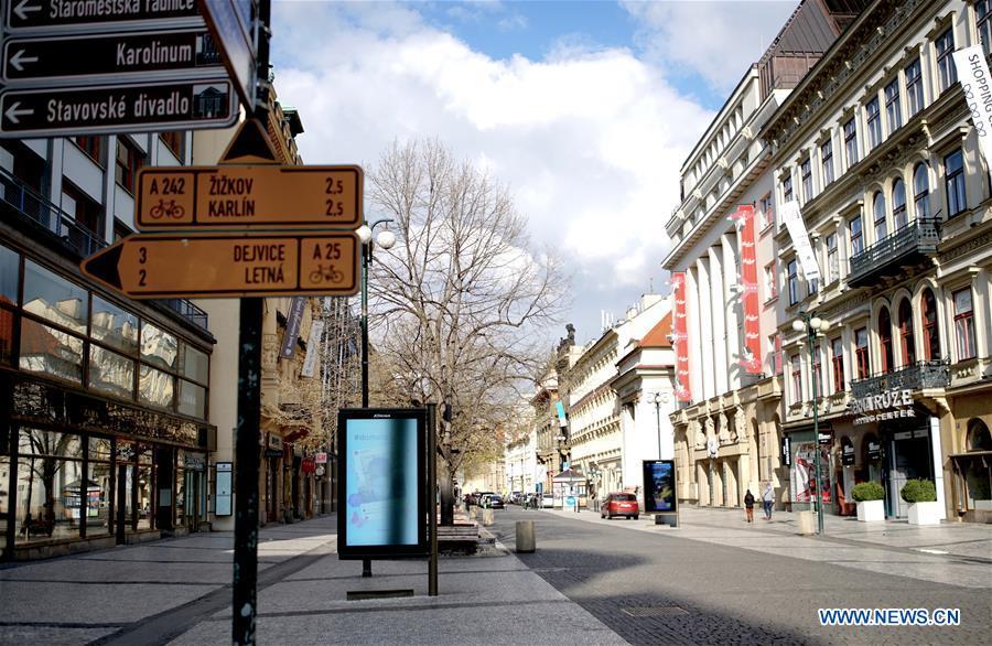View of empty streets in Prague, Czech Republic