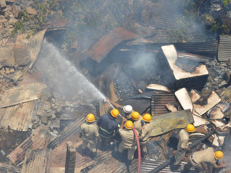 Fire breaks out at Bamboo Bazaar in Bangalore, India