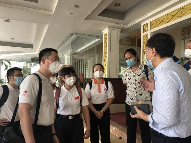 Chinese COVID-19 medical team members inspect quarantine zone in Phnom Penh, Cambodia