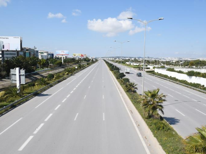 Empty streets in Tunis, Tunisia