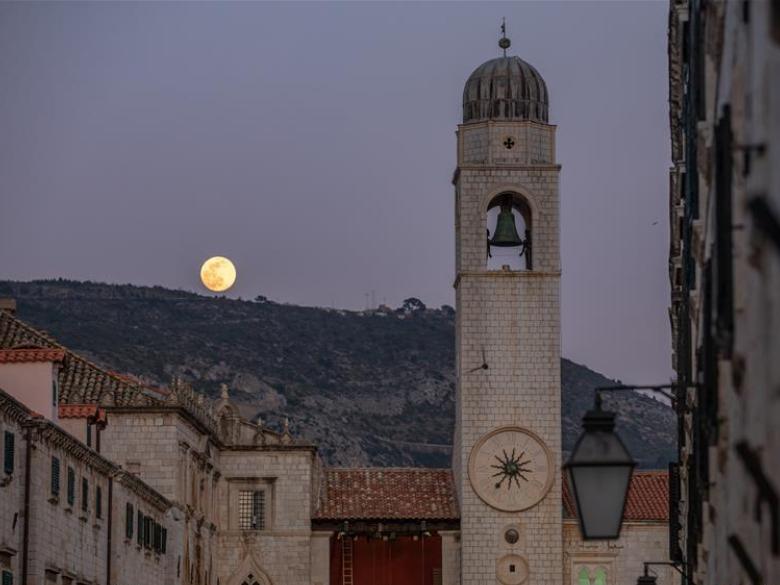 Full moon seen in sky over Dubrovnik, Croatia