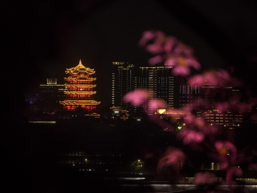 Night view of Wuhan landmarks as city reopens
