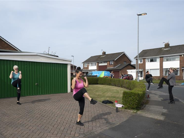 UK residents attend street exercise class to keep fit during coronavirus outbreak