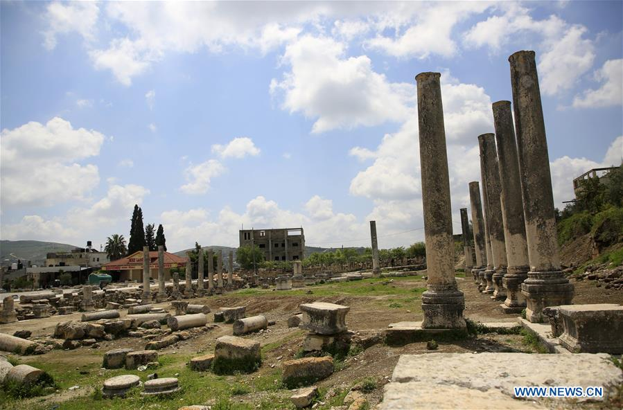 Roman historical site of Sebastia village lockded down to prevent COVID-19