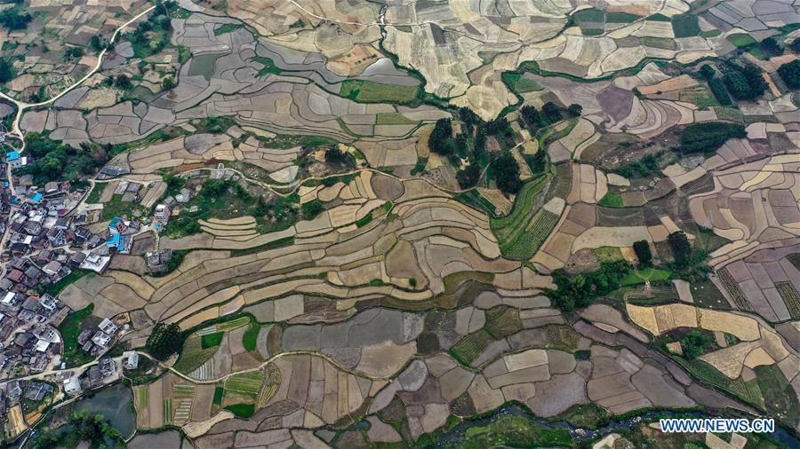 Aerial view of Tantou Township in Guangxi, S China