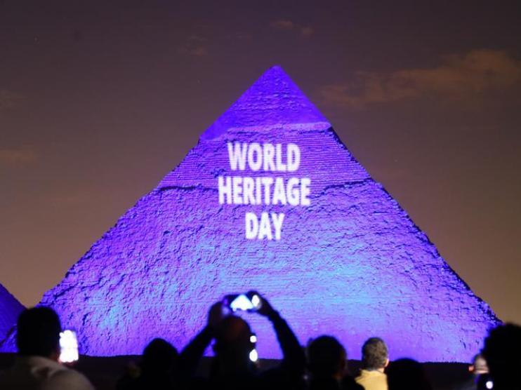 Pyramids illuminated during World Heritage Day