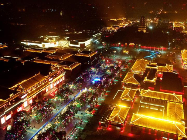 View of commercial street near Giant Wild Goose Pagoda scenic spot in Xi'an