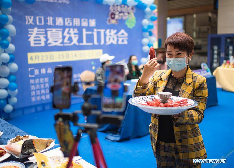 Merchants promote products via live broadcast in Wuhan, Hubei