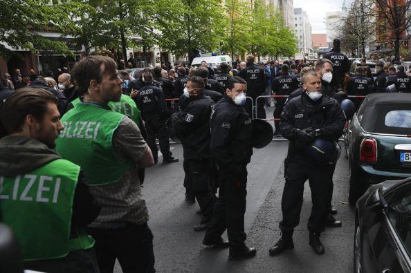 Protesters in Berlin defy social distancing rule