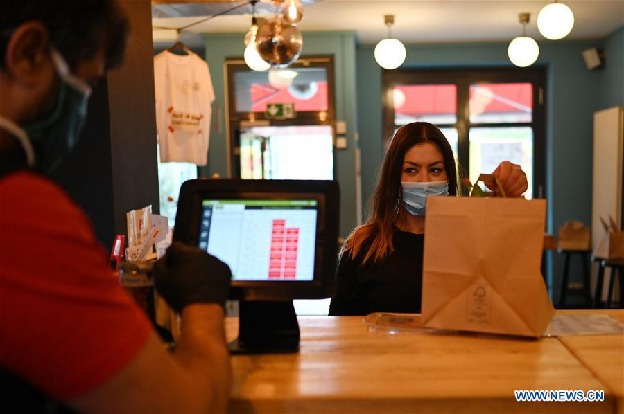 Restaurant provides takeaway service only due to COVID-19 in Dusseldorf, Germany