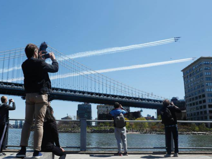 Air teams honor frontline COVID-19 responders, essential workers with formation flights