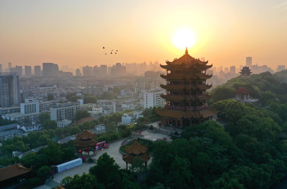 Wuhan's landmark Yellow Crane Tower shines again