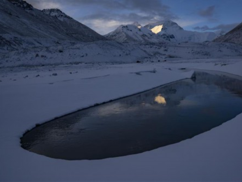 In pics: crescent-shaped pool at foot of Mount Qomolangma in Tibet