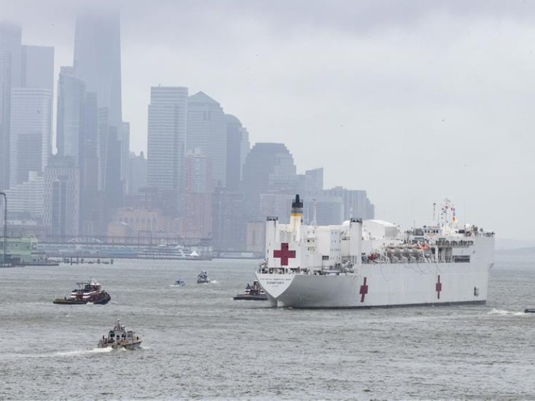 US Navy hospital ship Comfort leaves New York City