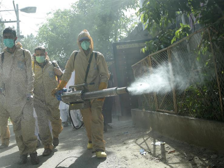 Volunteers disinfect residential areas amid COVID-19 pandemic in Pakistan's Islamabad