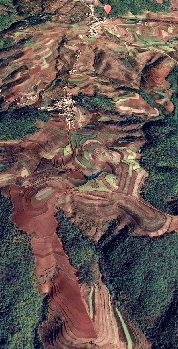 Aerial scenery resembles painter's palette in Southwest China's Yunnan