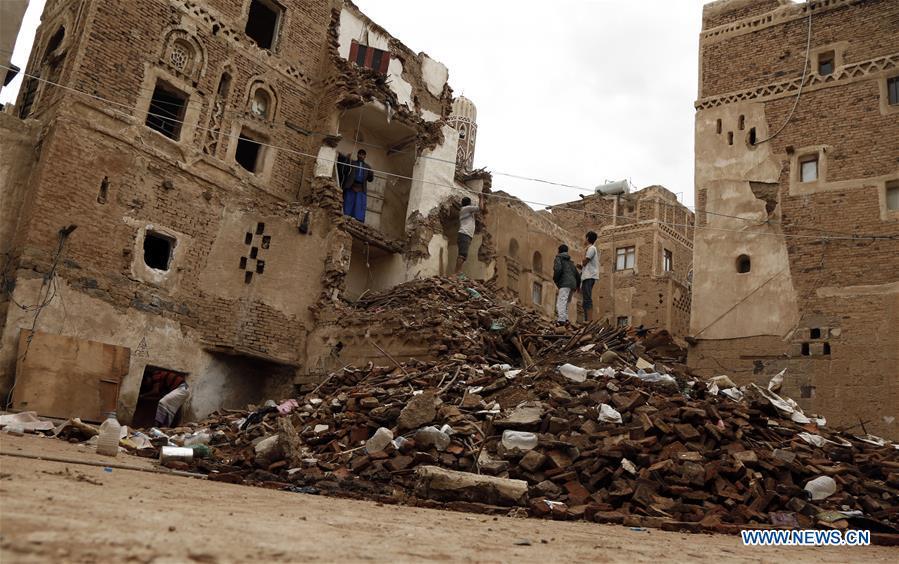 House destroyed by heavy rains in Sanaa, Yemen