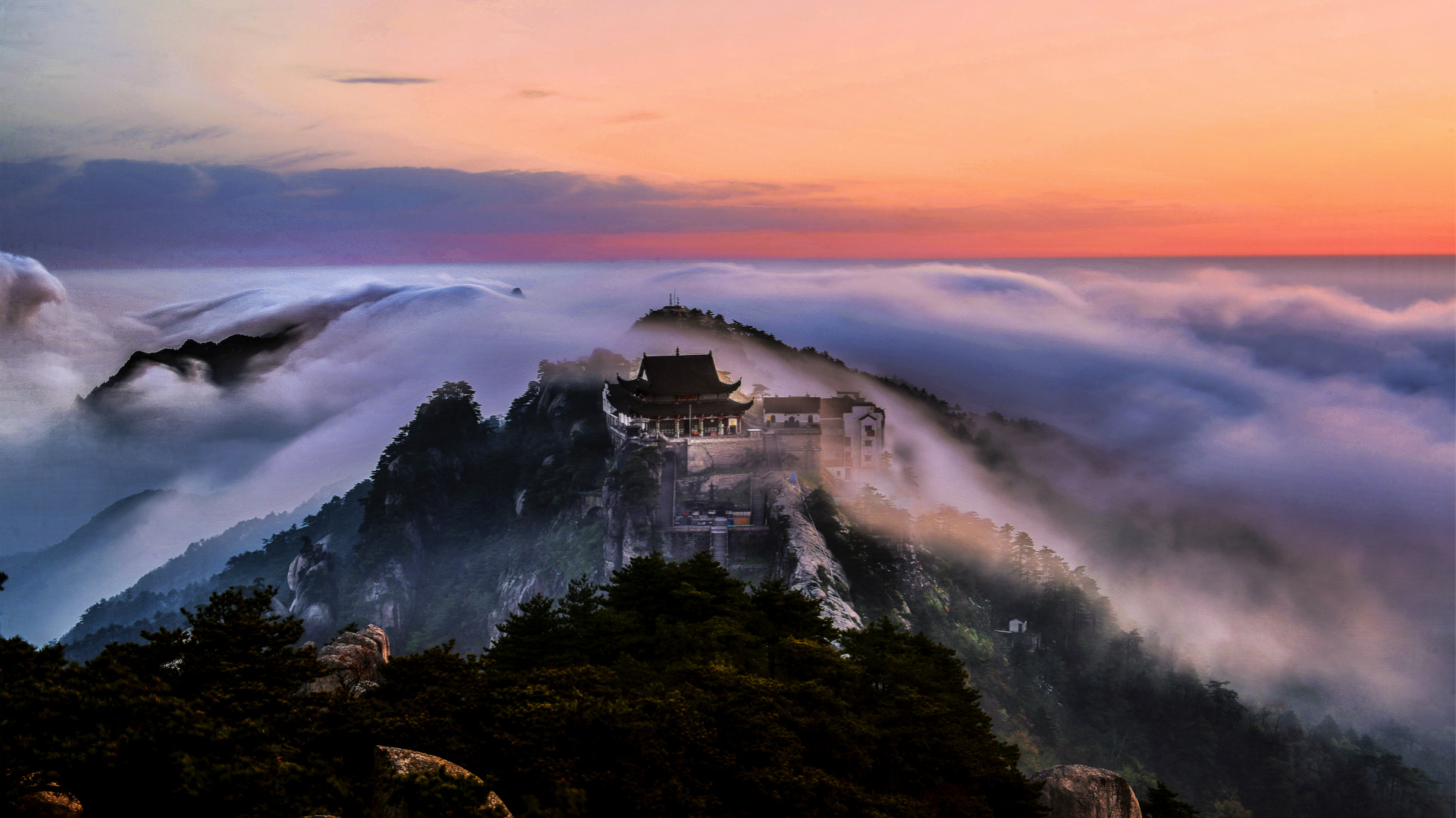 Breathtaking sea of clouds in mountains of east China
