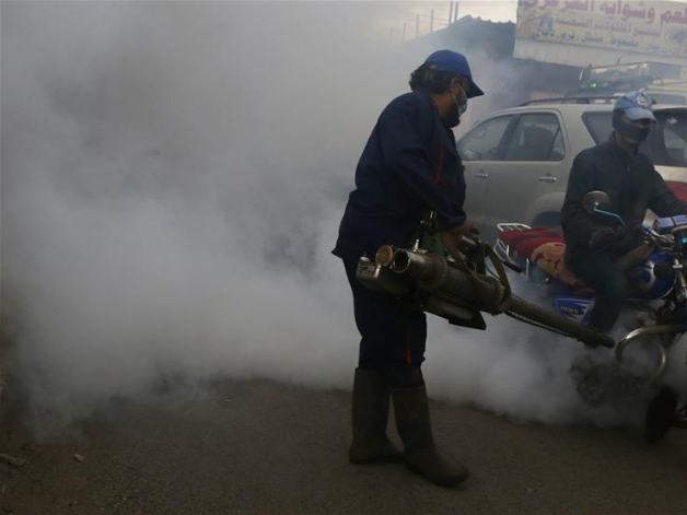 Health workers fumigate market in Sanaa, Yemen