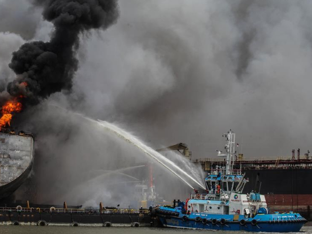 Fire breaks out on crude oil tanker at Port of Belawan in Indonesia
