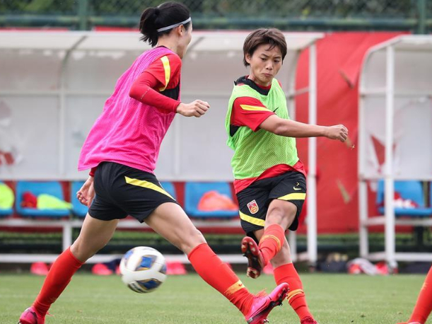 China's women's national football team attends training camp in Suzhou, Jiangsu