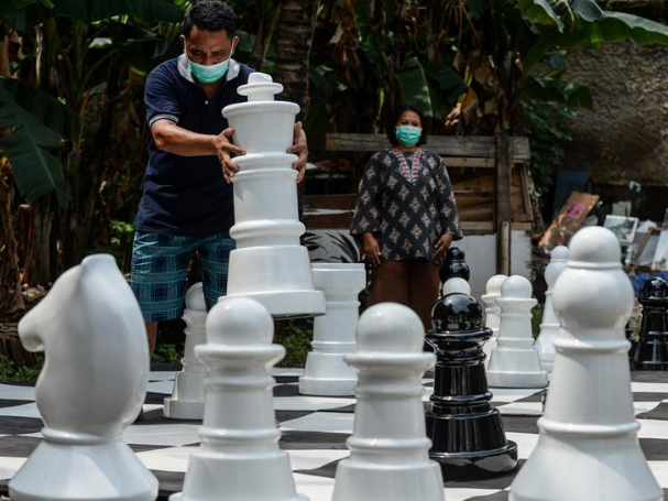 People play giant chess amid COVID-19 outbreak in South Tangerang, Indonesia