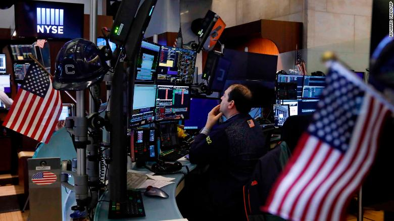 US stocks open lower amid record slump in retail sales