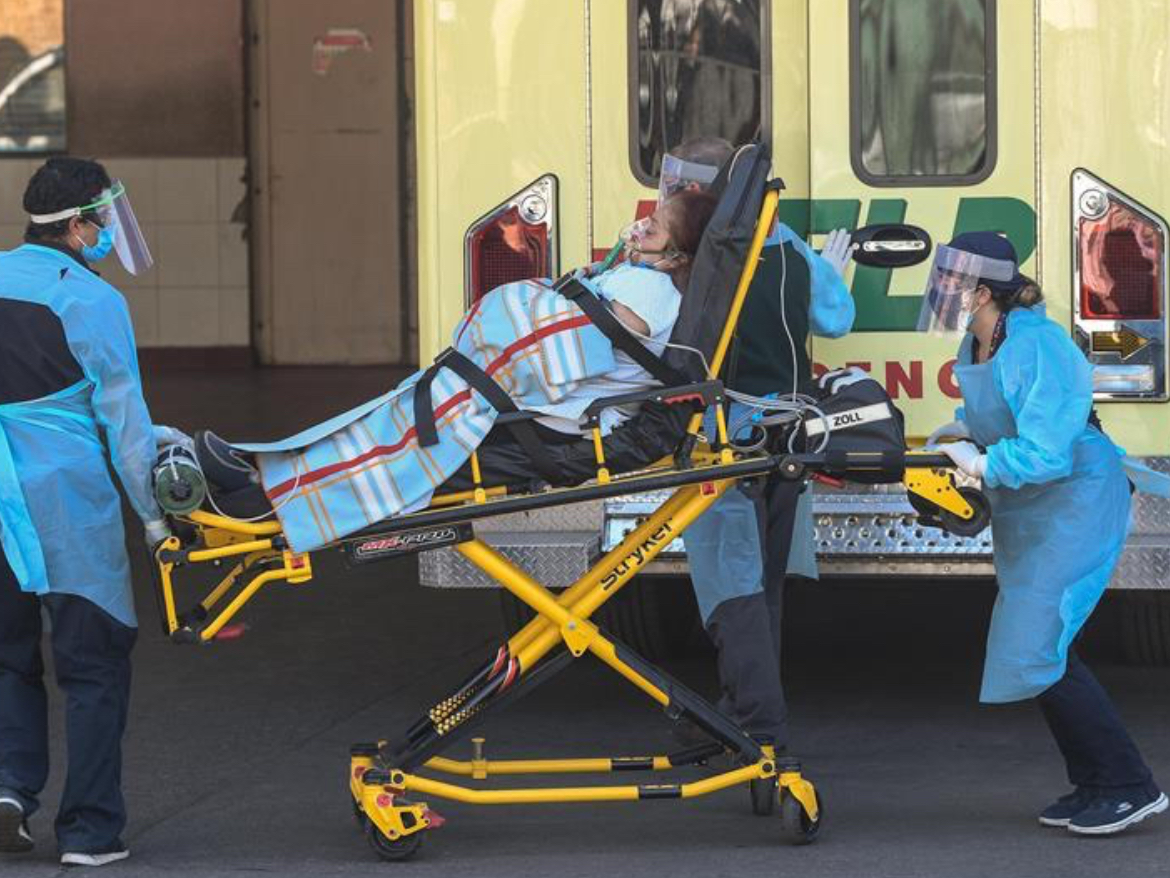 Medics work at San Jose Hospital in Santiago
