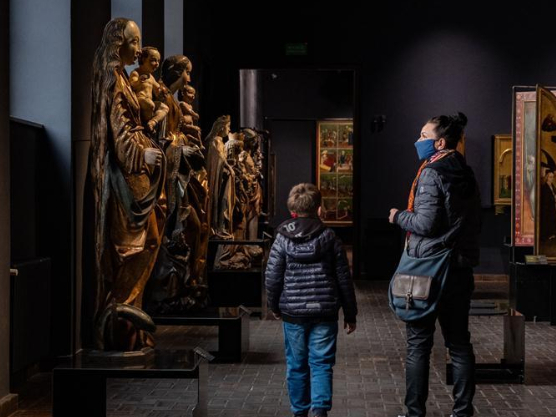 Visitors tour National Museum in Warsaw in Poland