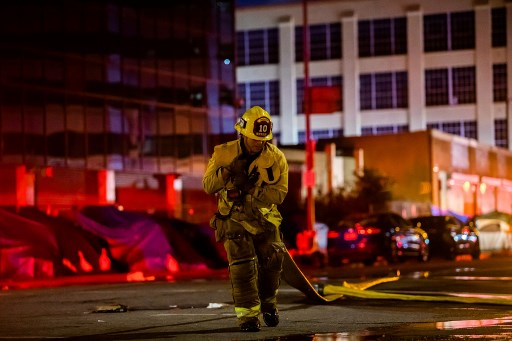 At least 11 firefighters injured battling fire in downtown Los Angeles