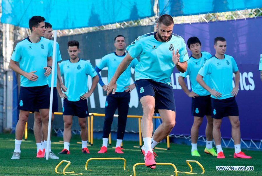Players of RCD Espanyol attend training session in Barcelona, Spain