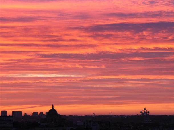 Skyline of Brussels at dusk