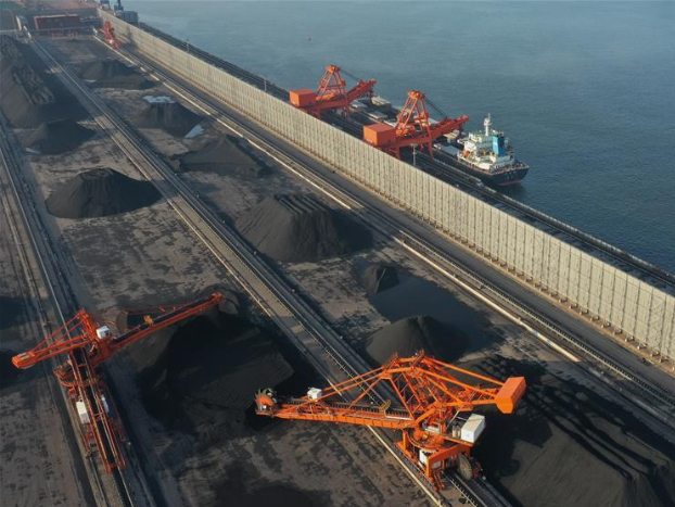 Bulk carrier loads cargoes at newly built coal berth of Caofeidian Port in Tangshan