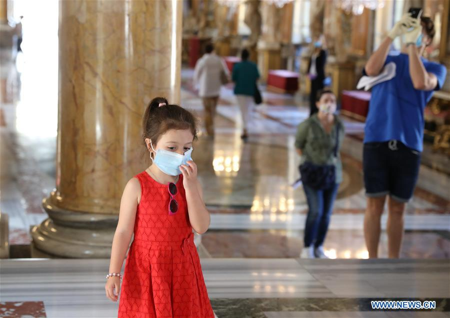 People visit Colonna Palace with face masks in Rome, Italy