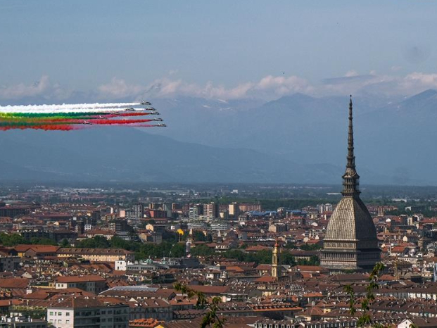 Aerobatic squad performs to mark 74th anniv. of Republic Day in Turin, Italy
