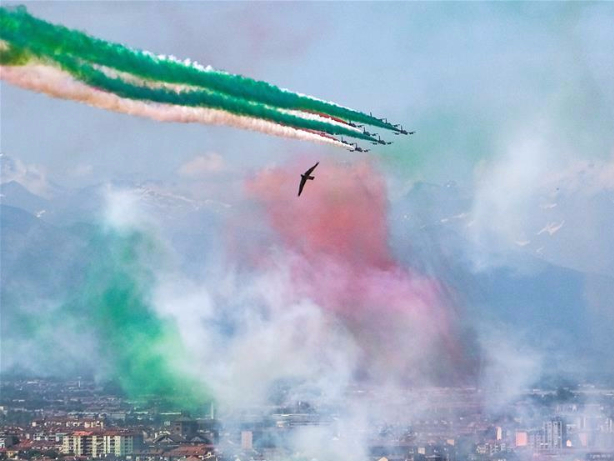 Aerobatic squad performs to mark 74th anniv. of Republic Day in Italy
