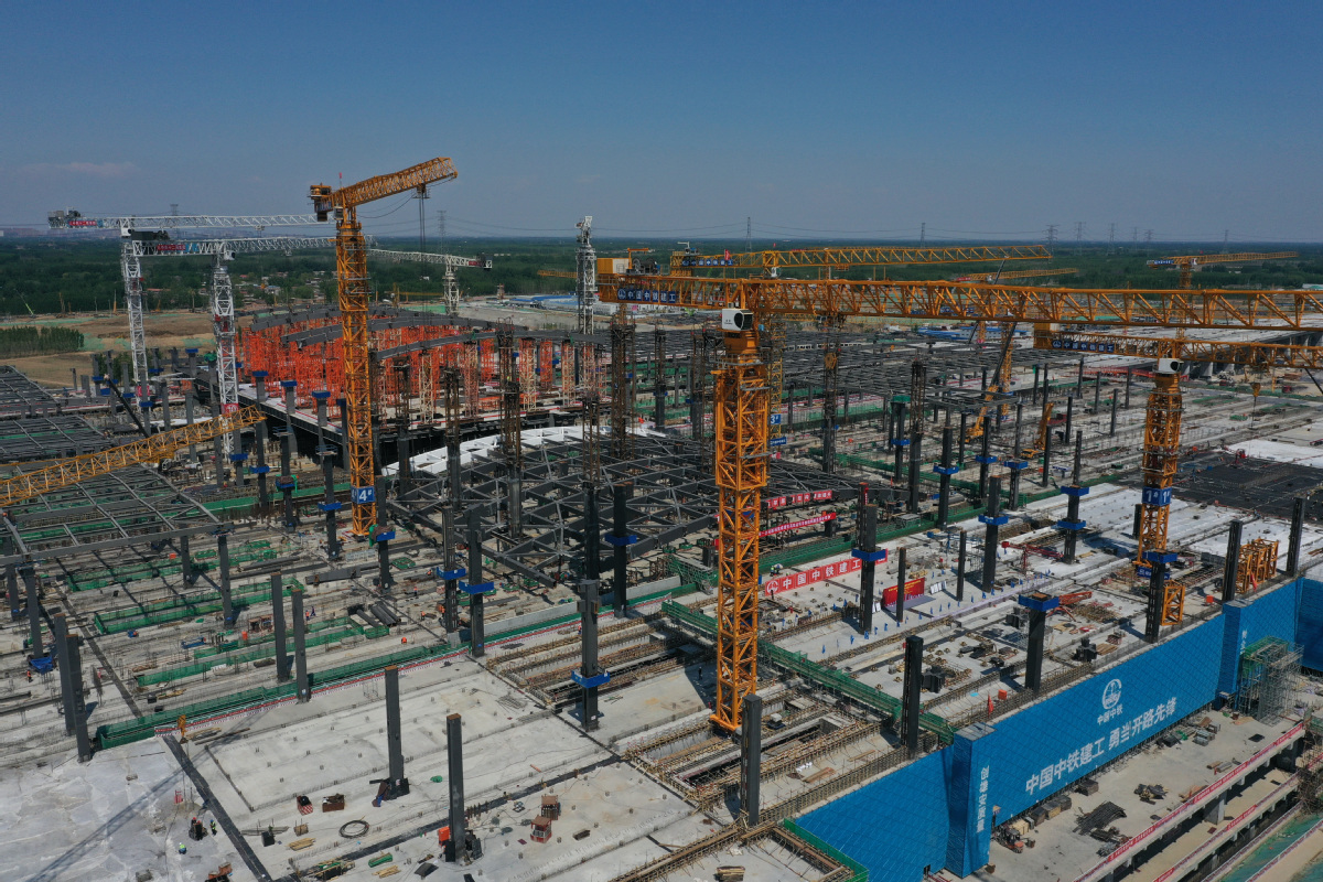 Main structure of Xiongan railway station's west section completed