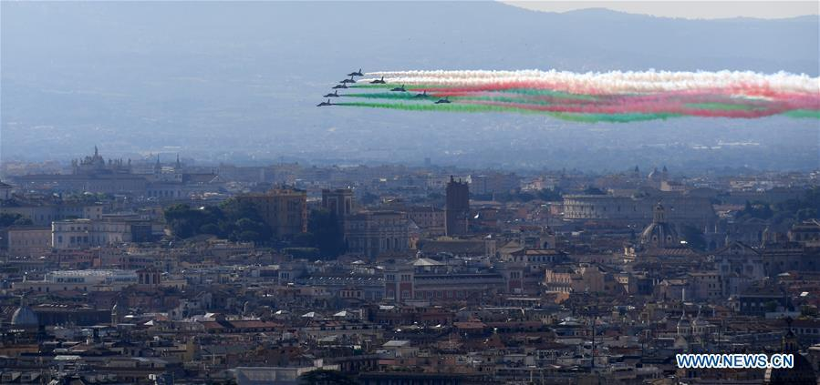 Italian Frecce Tricolori aerobatics team fly over Rome on occasion of Republic Day
