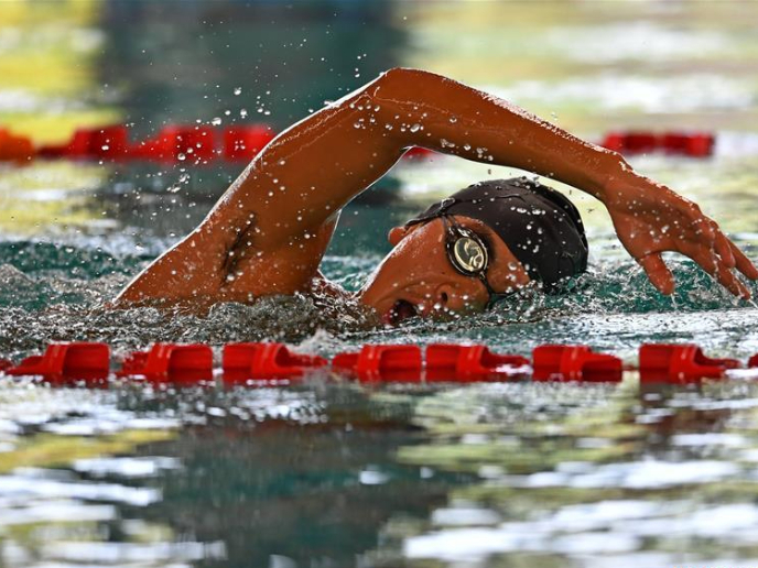 China's national triathlon selection team during training session