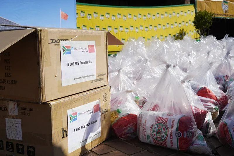 Food package donation activity held in S. Africa to counter COVID-19