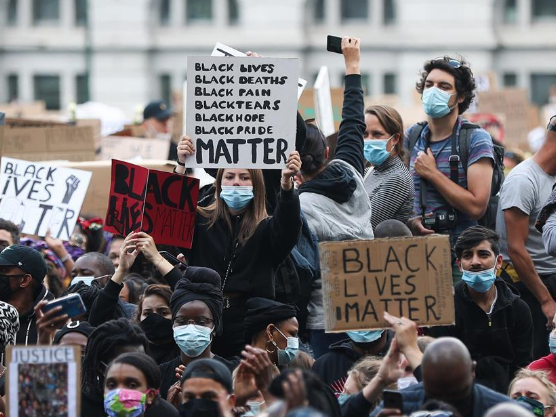 Demonstrators participate in Black Lives Matter protest in Brussels, Belgium