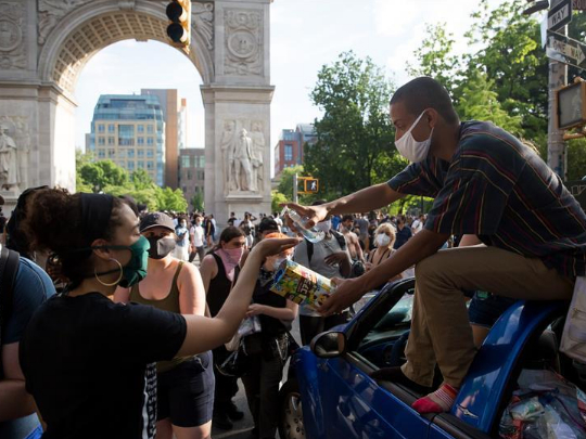 People protest over George Floyd death in New York