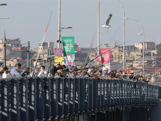 Anglers in Istanbul flock to old bridge for fishing, raising concerns amid COVID-19