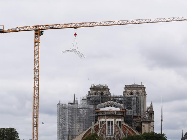 Notre-Dame Cathedral seen during dismantling operations of scaffolding in Paris