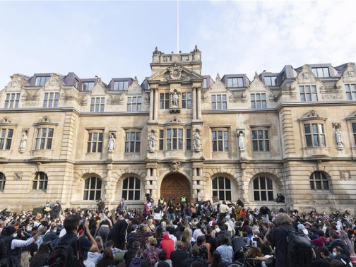 Black Lives Matter protesters gather in Oxford to call for removing statue of Cecil Rhodes